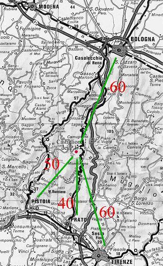 Posizione dell'Osservatorio in progetto con le distanze in km dalle principali città